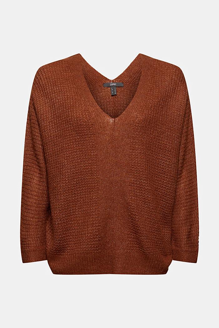 Mit Alpaka/Wolle: Pullover mit V-Ausschnitt, TOFFEE, detail image number 6