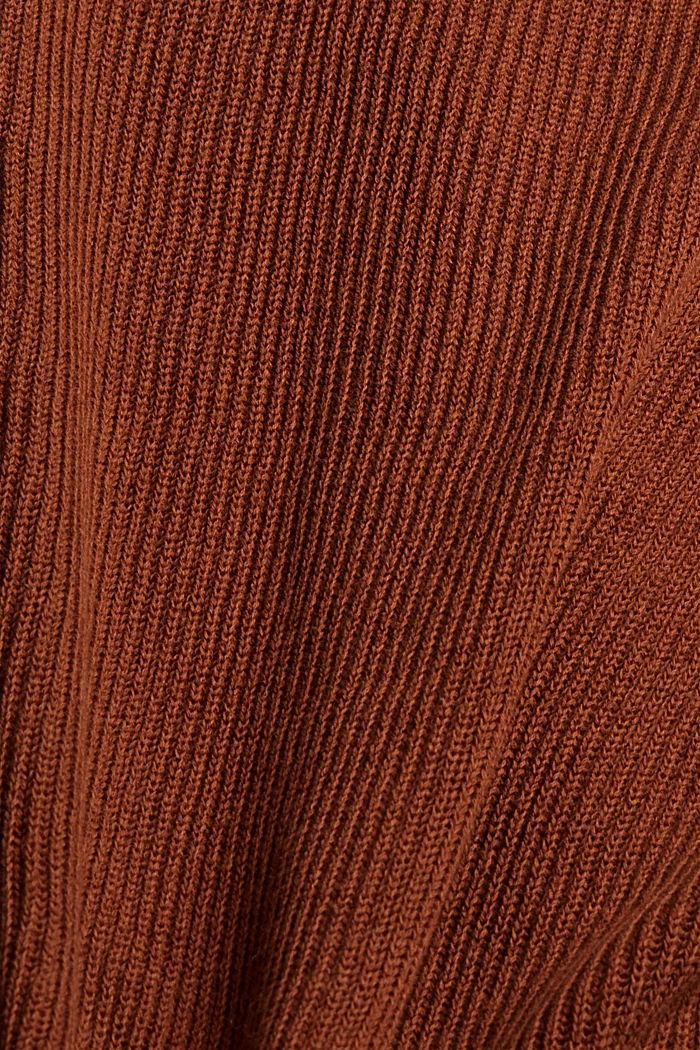 Cardigan à encolure en V en coton bio mélangé, TOFFEE, detail image number 4