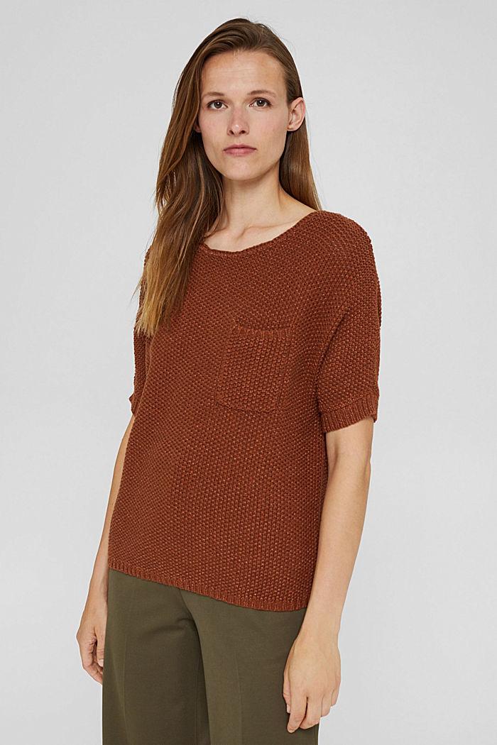 Kurzarm-Pullover aus Baumwoll-Mix, TOFFEE, detail image number 0