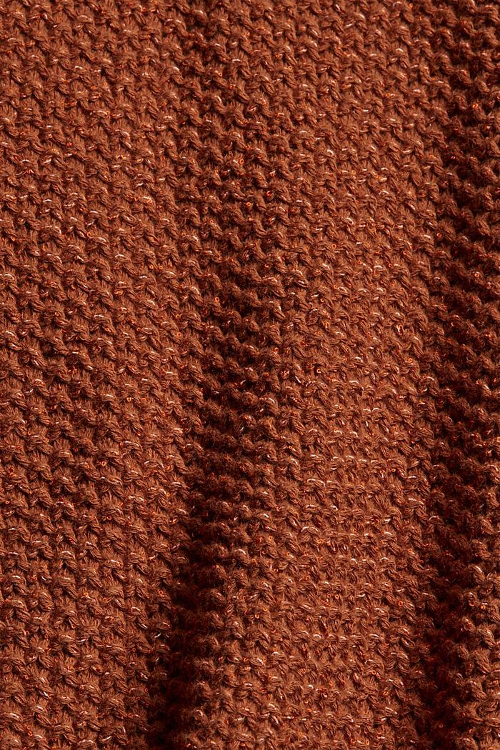 Kurzarm-Pullover aus Baumwoll-Mix, TOFFEE, detail image number 4
