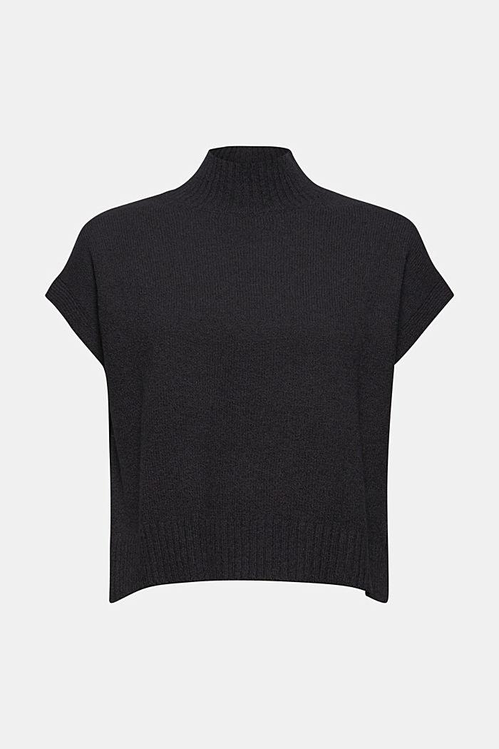 À teneur en laine: le gilet en maille à col droit