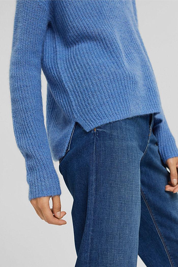 Met alpaca/wol: trui met V-hals, BRIGHT BLUE, detail image number 2
