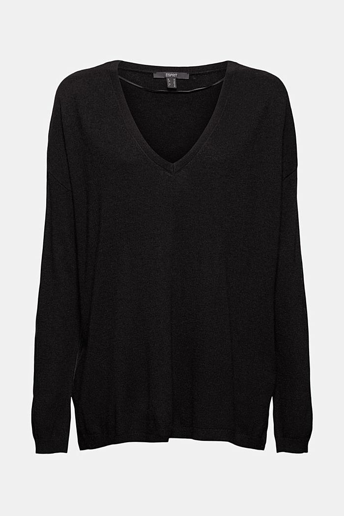 Oversized trui met kasjmier en wol, BLACK, detail image number 6