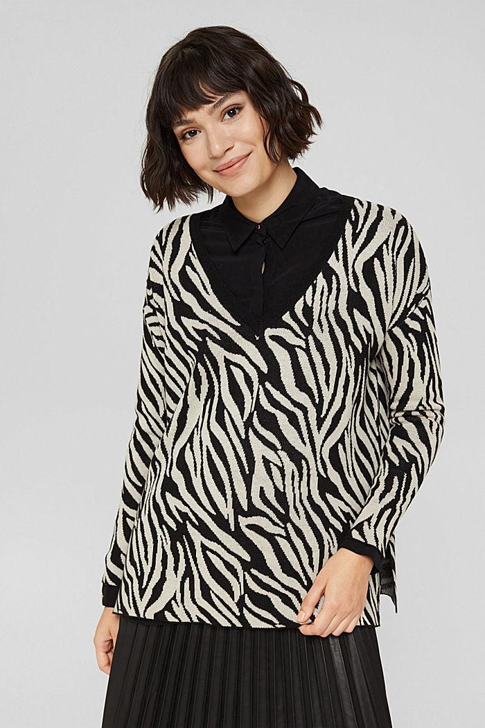 Mit Kaschmir/Wolle: gemusterter Pullover, BLACK, detail image number 0