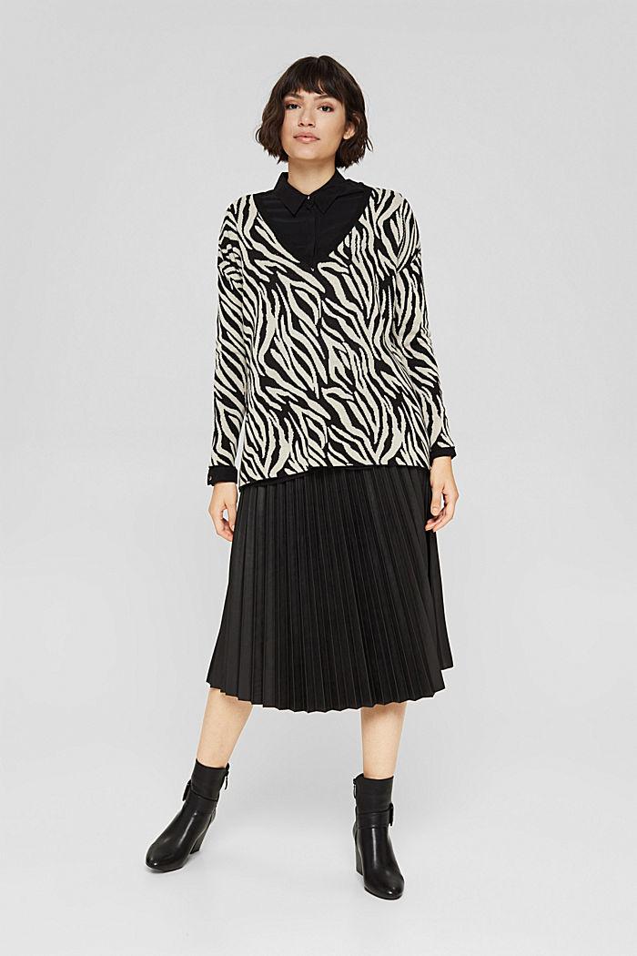 Mit Kaschmir/Wolle: gemusterter Pullover, BLACK, detail image number 5