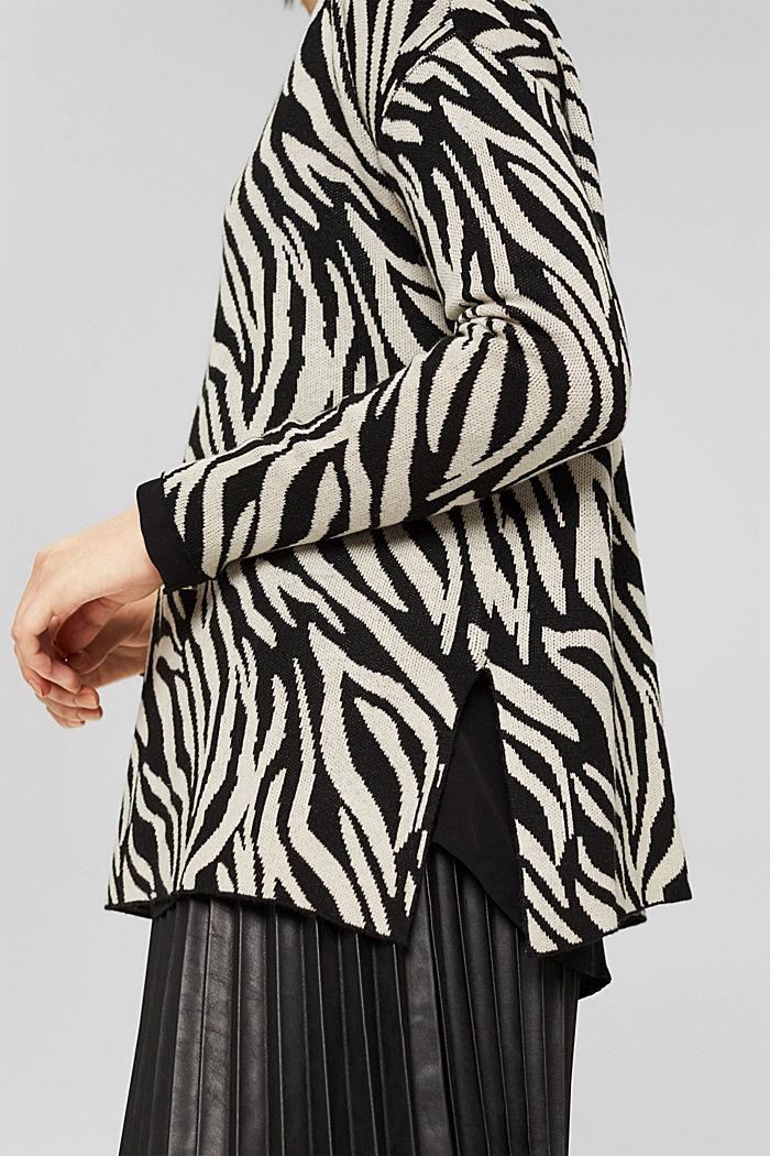 Mit Kaschmir/Wolle: gemusterter Pullover, BLACK, detail image number 2