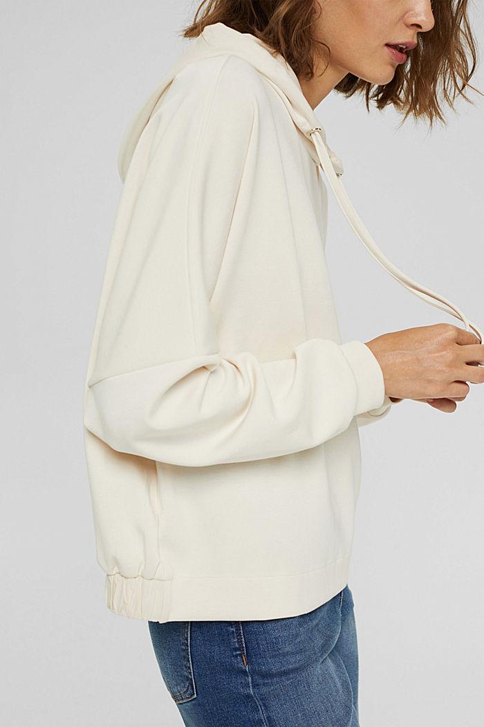 Hoodie van soepele jersey, ICE, detail image number 2