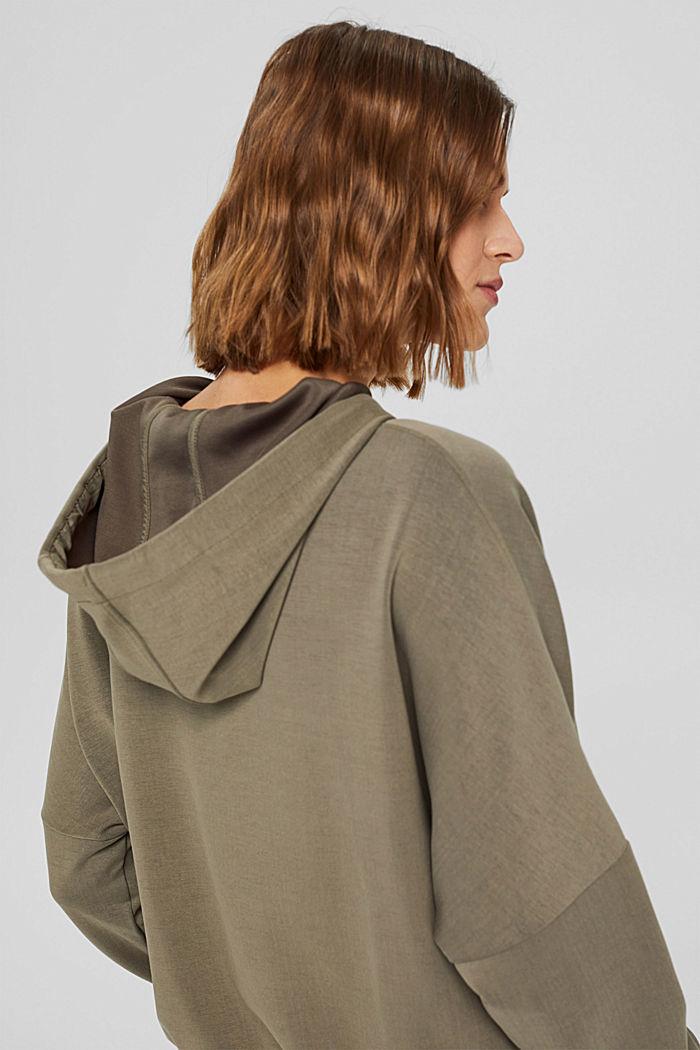 Hoodie dress in flowing jersey, DARK KHAKI, detail image number 5