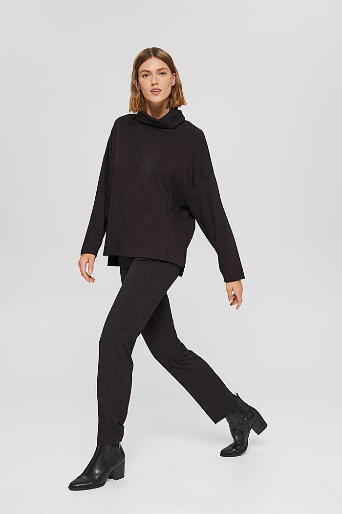 Sweat-shirt à col roulé, LENZING™ ECOVERO™, BLACK, detail image number 1