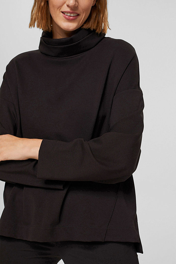 Sweat-shirt à col roulé, LENZING™ ECOVERO™, BLACK, detail image number 2