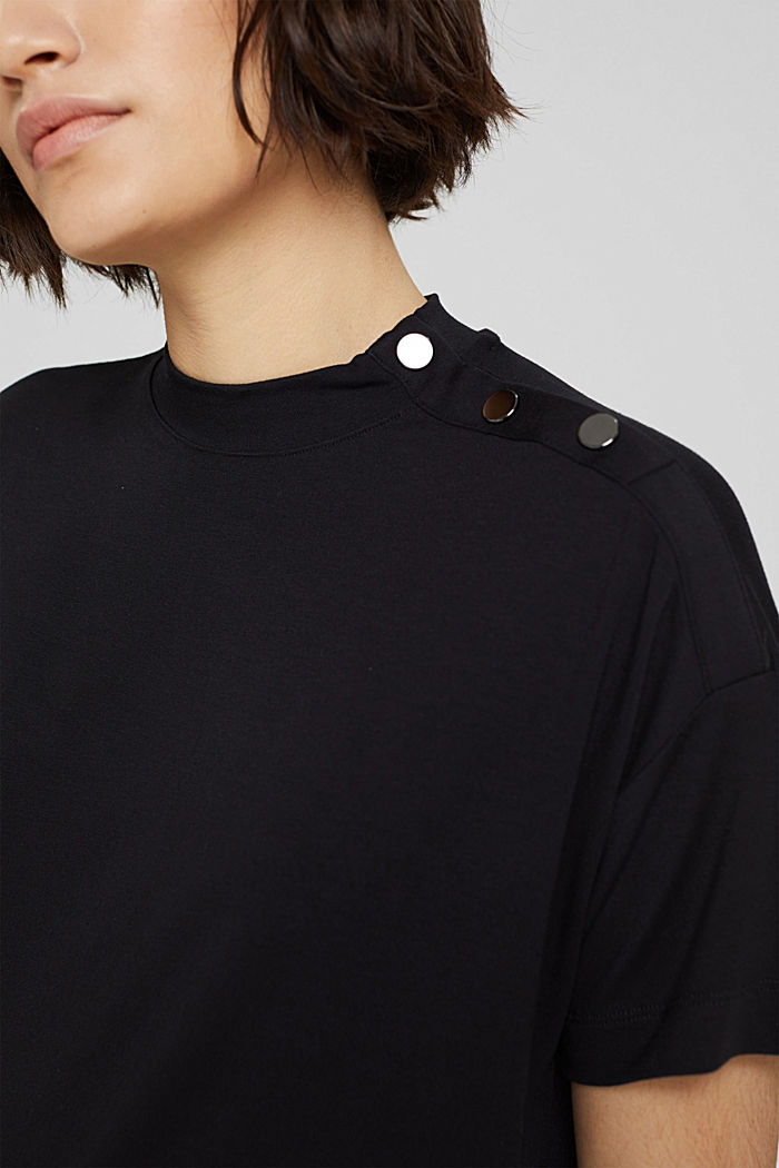 T-shirt met knopen, van LENZING™ ECOVERO™, BLACK, detail image number 2