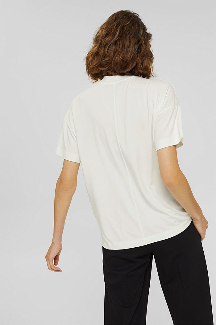 T-shirt with buttons, made of LENZING™ ECOVERO™, OFF WHITE, detail image number 3