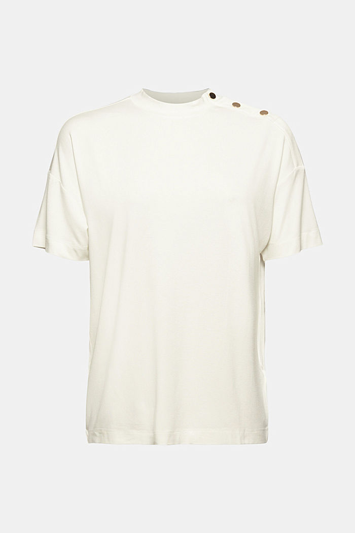 T-shirt with buttons, made of LENZING™ ECOVERO™, OFF WHITE, detail image number 5