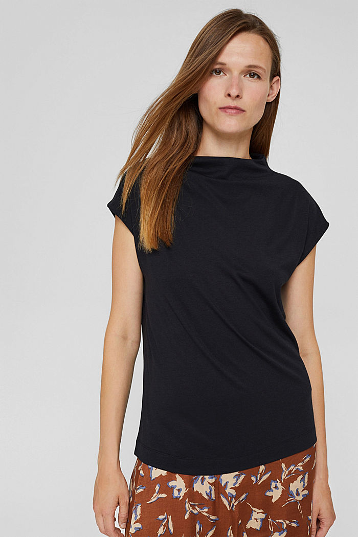 With TENCEL™: T-shirt with band collar, BLACK, detail image number 0