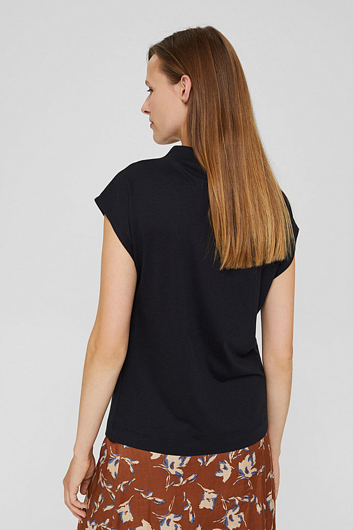 With TENCEL™: T-shirt with band collar, BLACK, detail image number 3
