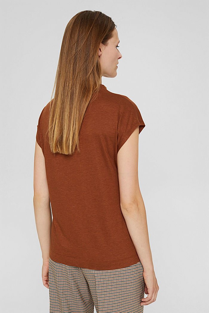 With TENCEL™: T-shirt with band collar, TOFFEE, detail image number 3