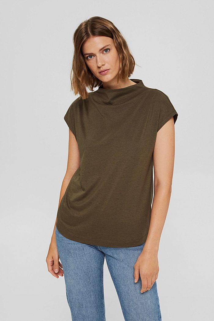 Met TENCEL™: T-shirt met opstaande kraag, DARK KHAKI, detail image number 0