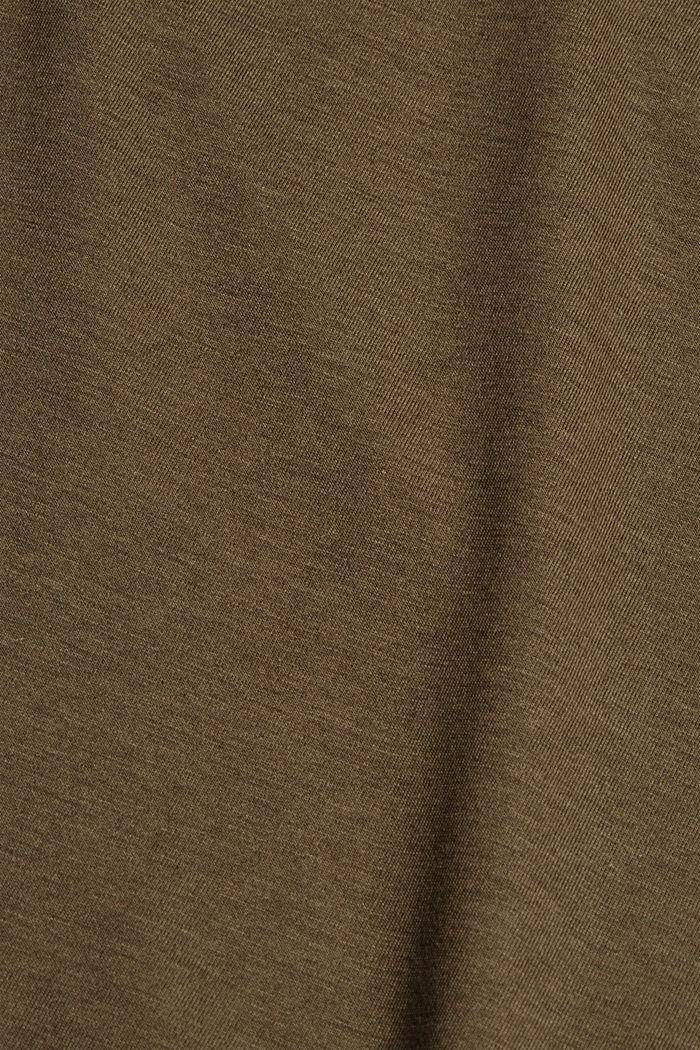 Met TENCEL™: T-shirt met opstaande kraag, DARK KHAKI, detail image number 4