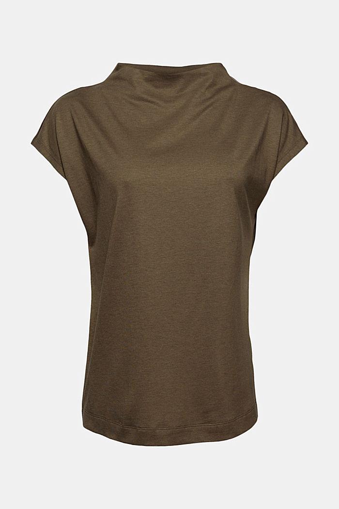 Met TENCEL™: T-shirt met opstaande kraag, DARK KHAKI, detail image number 5