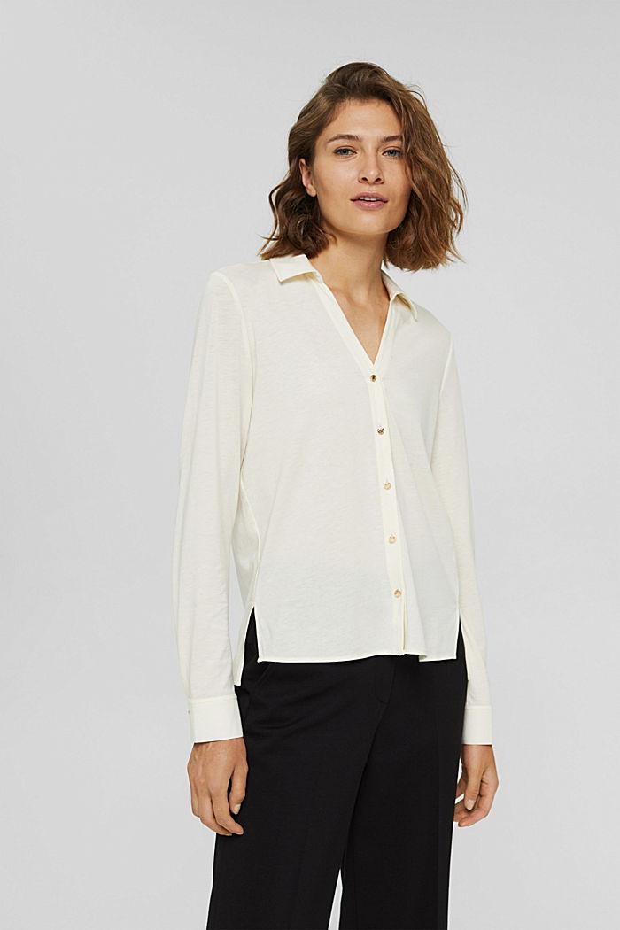 Met TENCEL™: longsleeve in blousestijl, OFF WHITE, detail image number 0