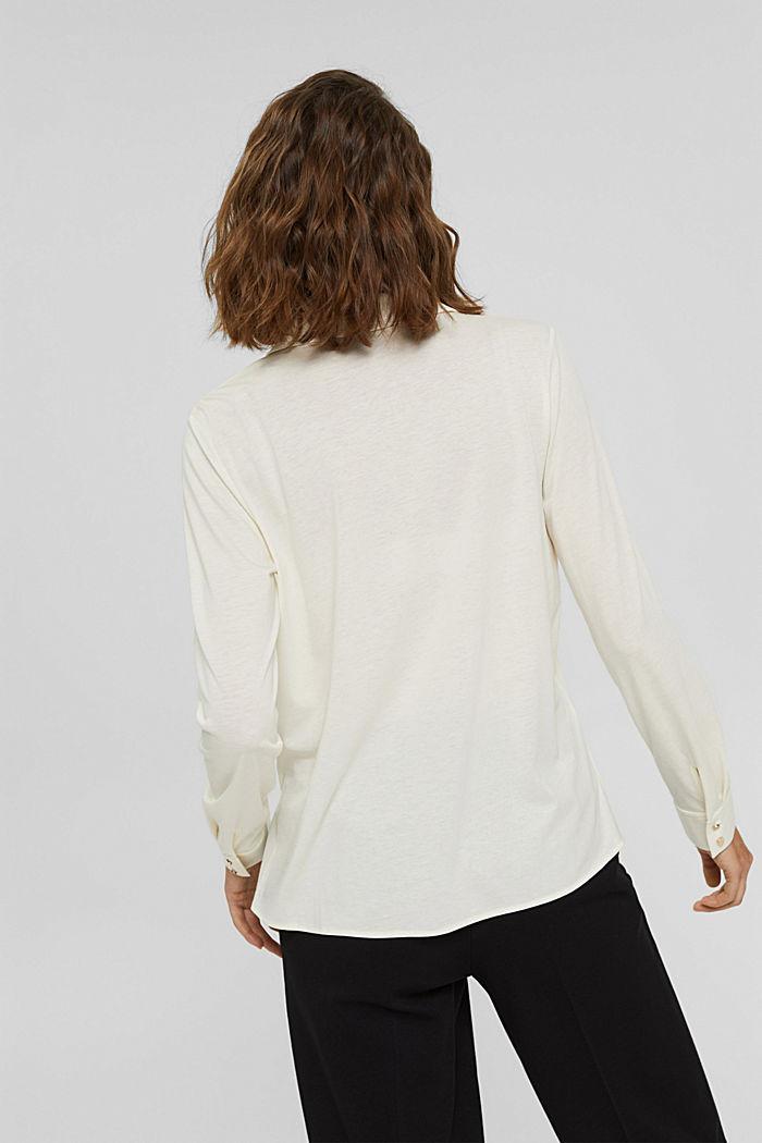 Met TENCEL™: longsleeve in blousestijl, OFF WHITE, detail image number 3