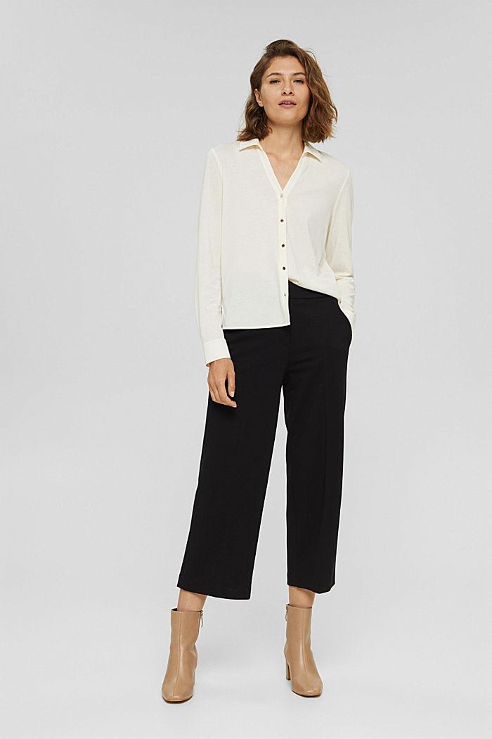 Met TENCEL™: longsleeve in blousestijl, OFF WHITE, detail image number 1