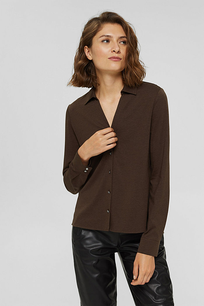 With TENCEL™: long sleeve top in a blouse style