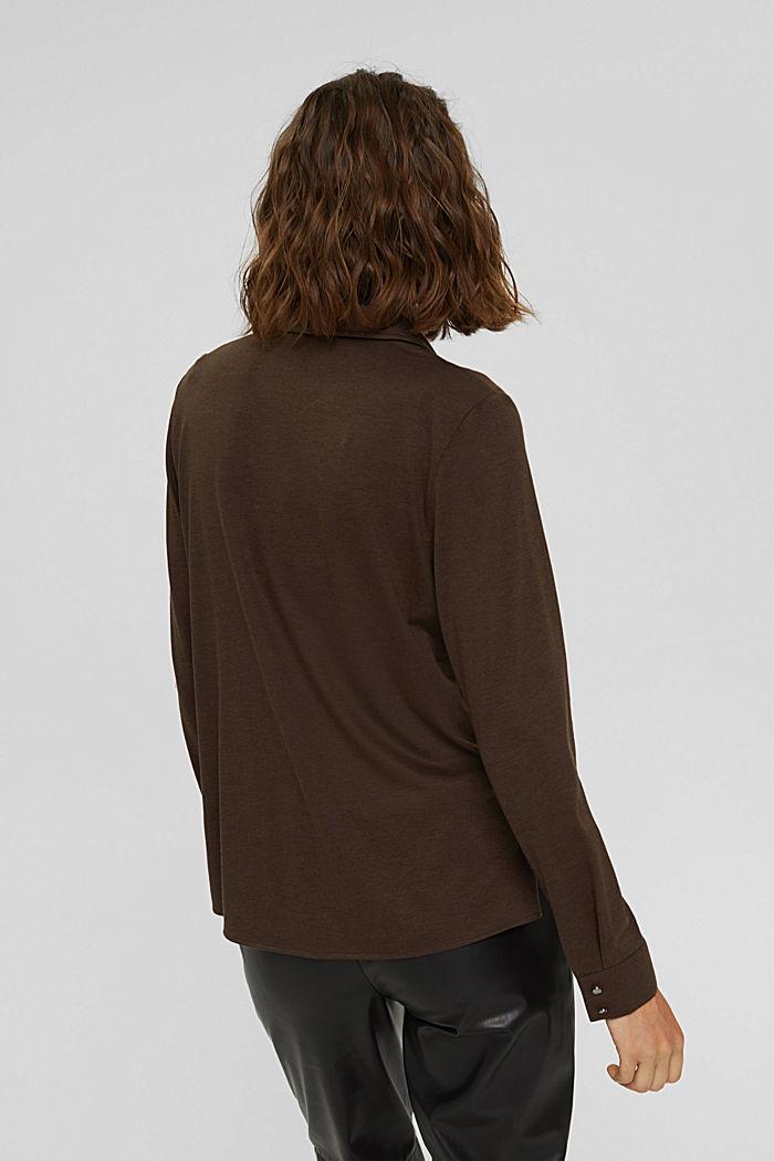 À teneur en TENCEL™: t-shirt à manches longues de style chemisier, DARK BROWN, detail image number 3