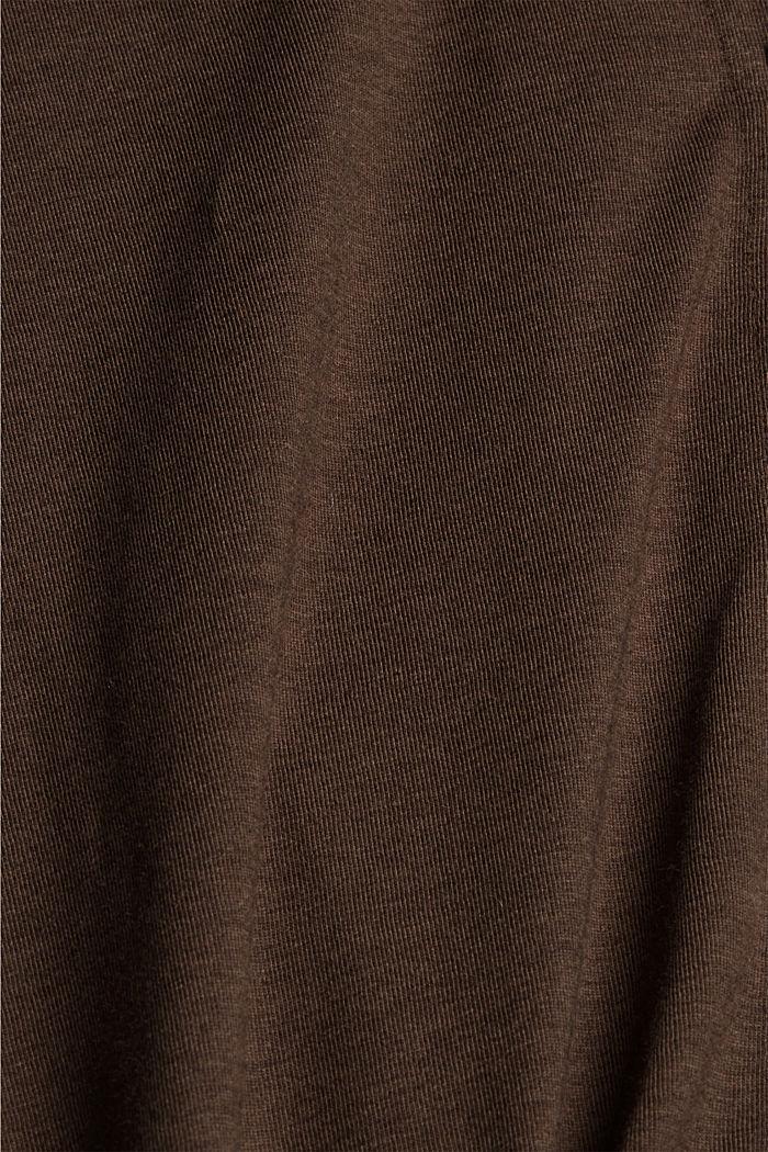 À teneur en TENCEL™: t-shirt à manches longues de style chemisier, DARK BROWN, detail image number 4