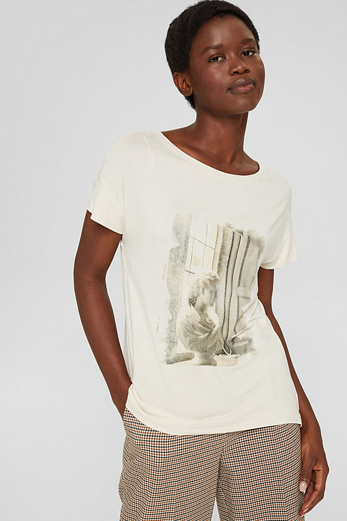 T-shirt met print van LENZING™ ECOVERO™, ICE, detail image number 0
