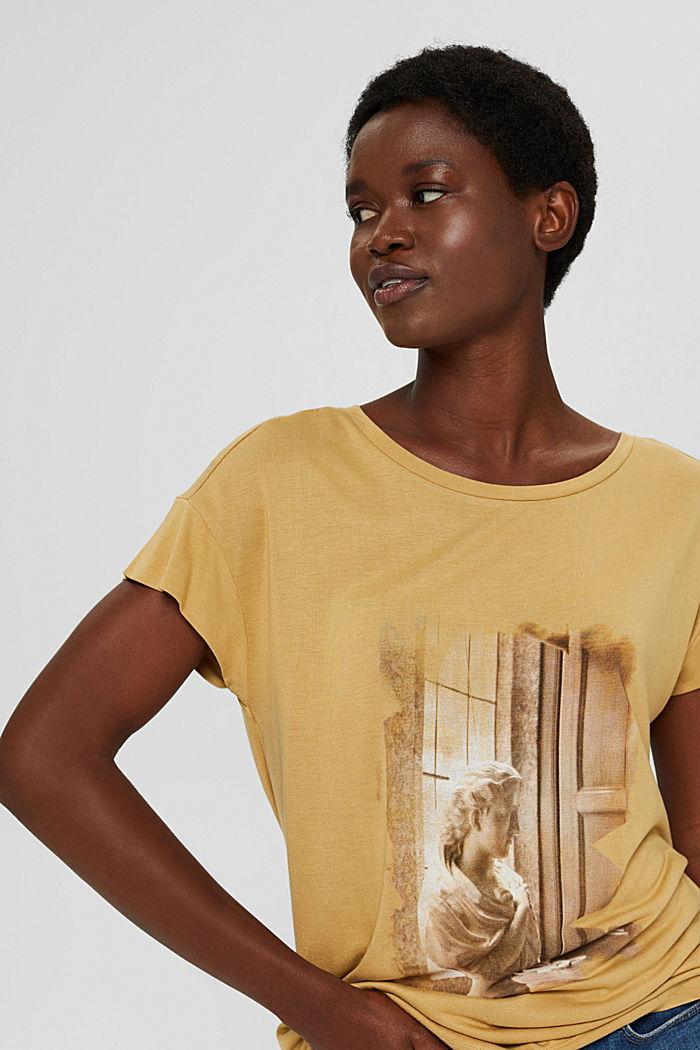 T-Shirt mit Print aus LENZING™ ECOVERO™, KHAKI BEIGE, detail image number 5