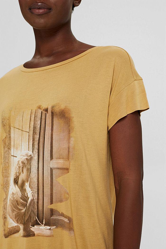 T-Shirt mit Print aus LENZING™ ECOVERO™, KHAKI BEIGE, detail image number 2
