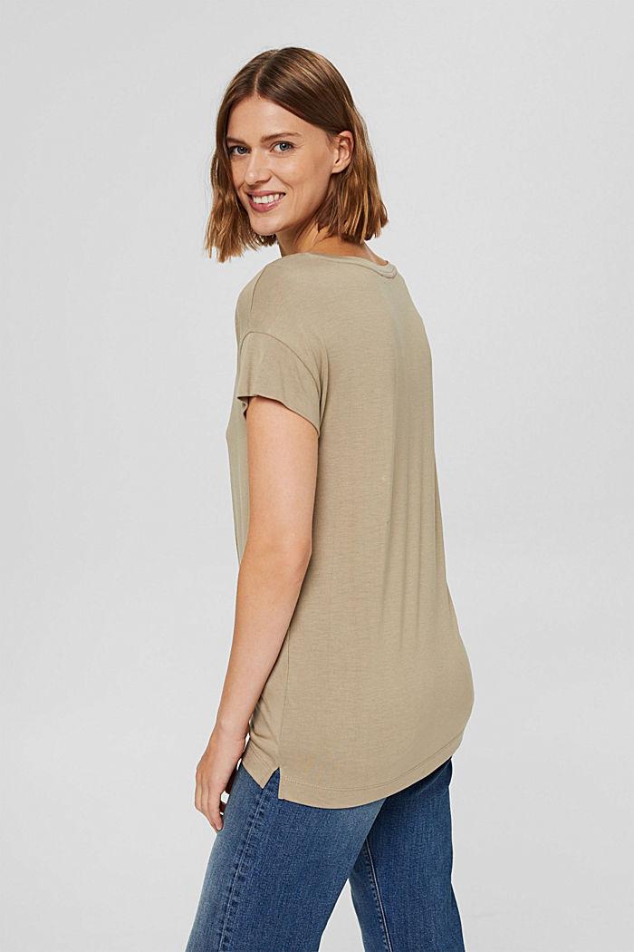 T-shirt met print van LENZING™ ECOVERO™, LIGHT KHAKI, detail image number 3