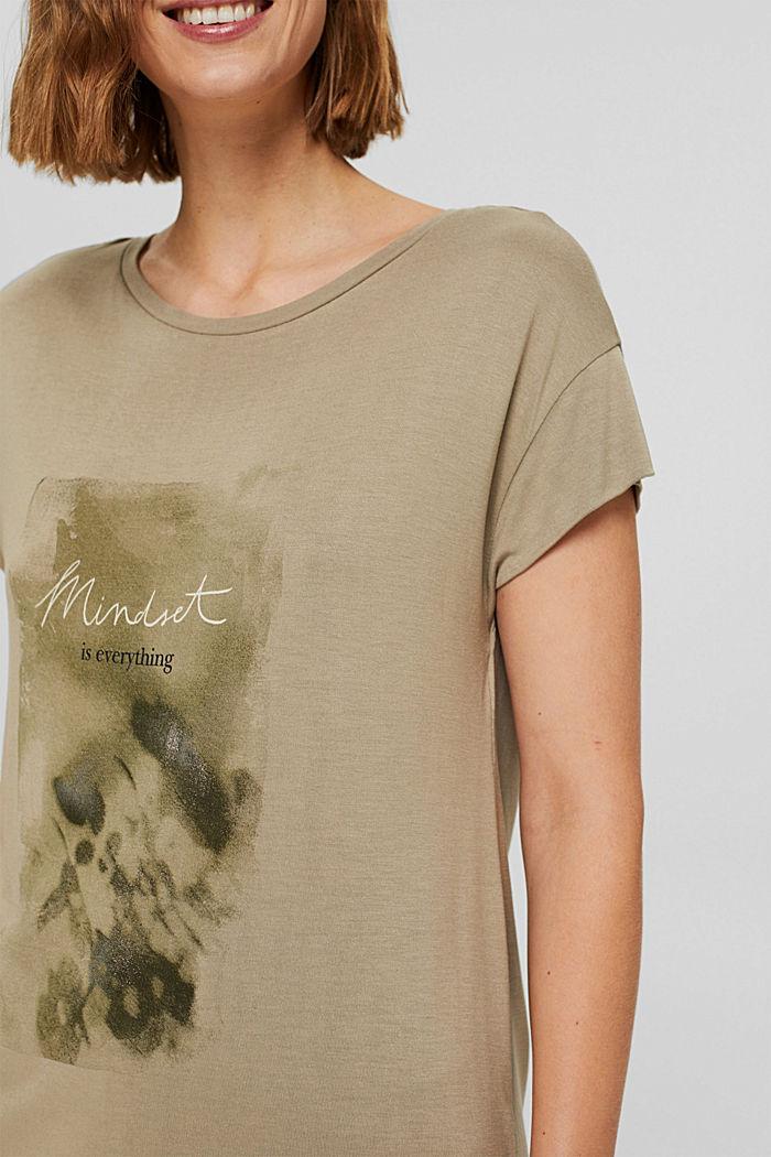 T-shirt met print van LENZING™ ECOVERO™, LIGHT KHAKI, detail image number 2
