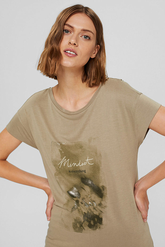 T-shirt met print van LENZING™ ECOVERO™, LIGHT KHAKI, detail image number 5