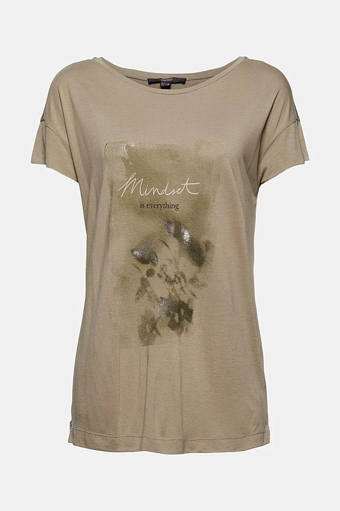 T-shirt met print van LENZING™ ECOVERO™, LIGHT KHAKI, detail image number 6