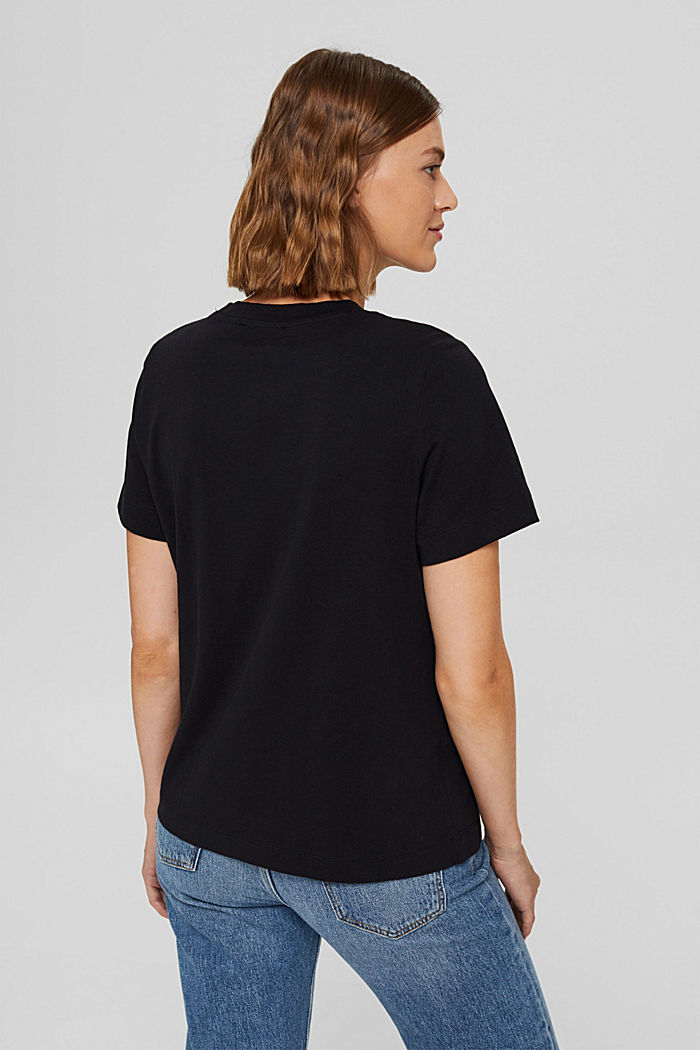 T-shirt à broderie, 100 % coton biologique, BLACK, detail image number 3