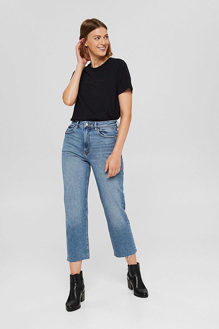 T-shirt à broderie, 100 % coton biologique, BLACK, detail image number 1