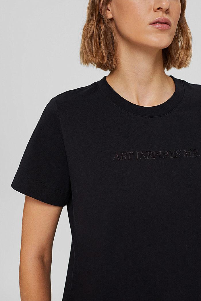 T-shirt à broderie, 100 % coton biologique, BLACK, detail image number 2