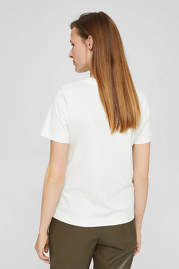 T-shirt met borduursel, 100% biologisch katoen, OFF WHITE, detail image number 3