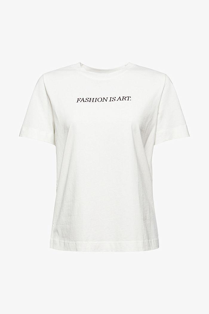 T-shirt met borduursel, 100% biologisch katoen, OFF WHITE, detail image number 6