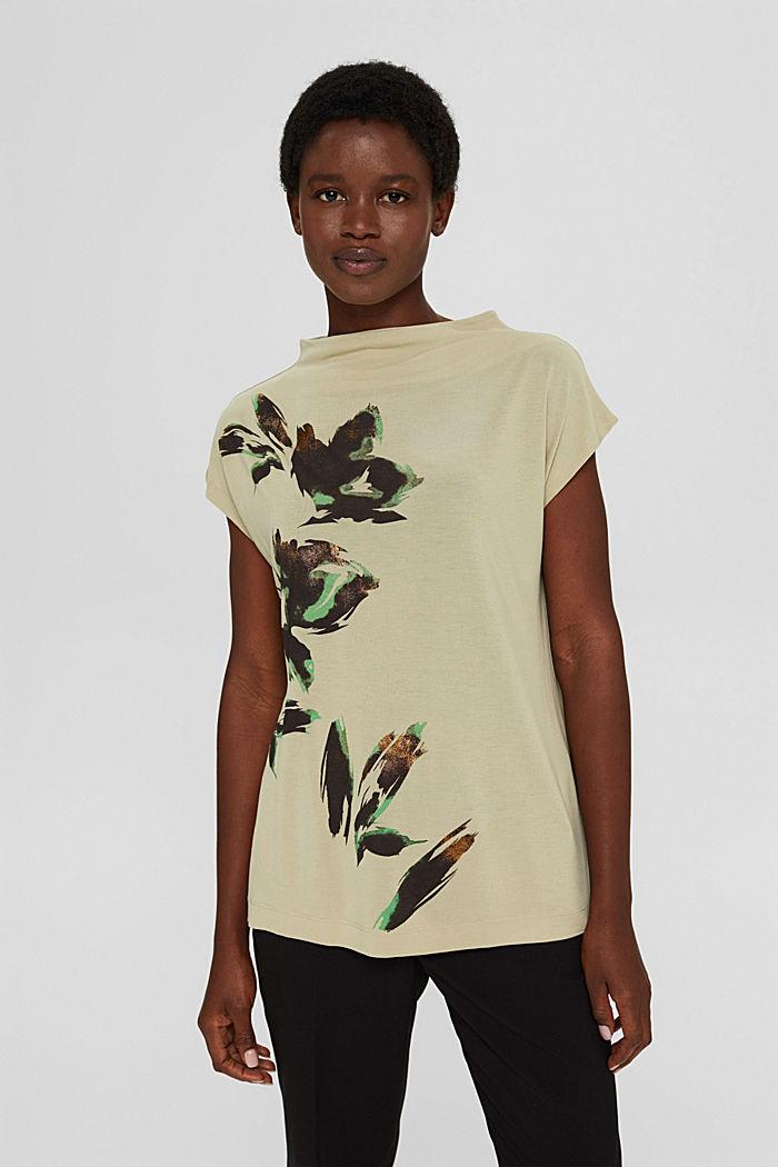 Gebloemd T-shirt van TENCEL™ x REFIBRA™, DUSTY GREEN, detail image number 0