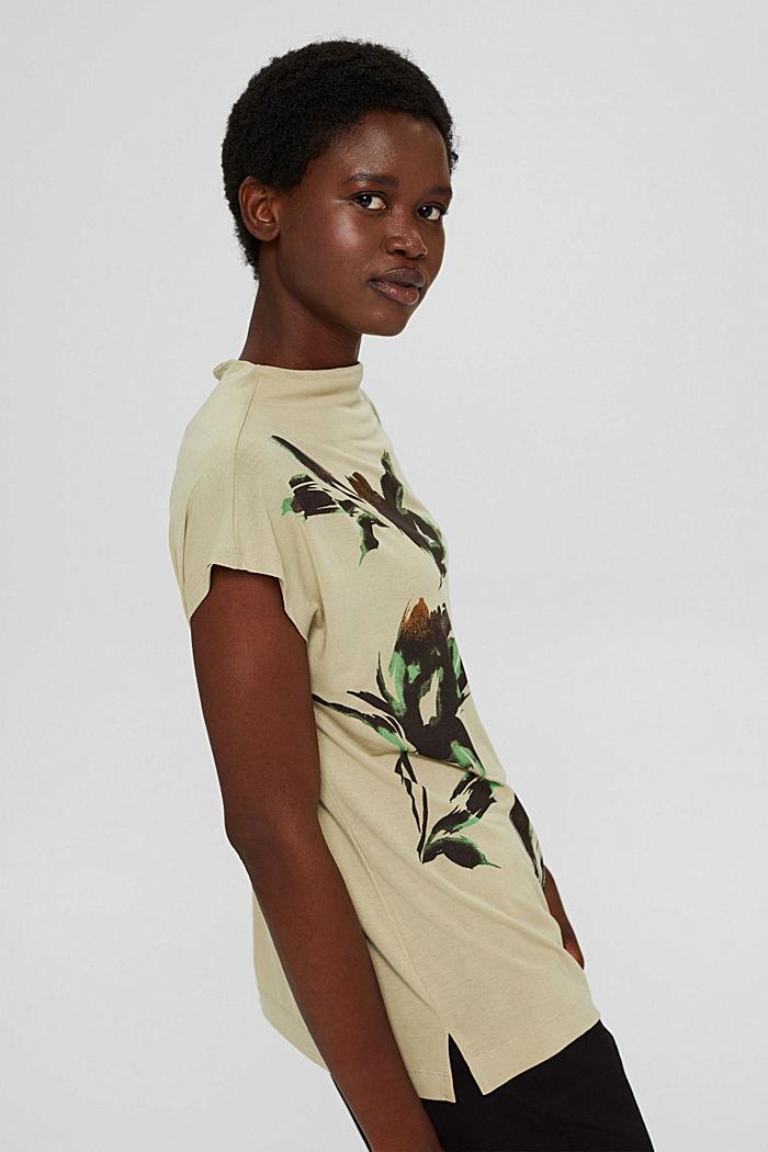 Gebloemd T-shirt van TENCEL™ x REFIBRA™, DUSTY GREEN, detail image number 5