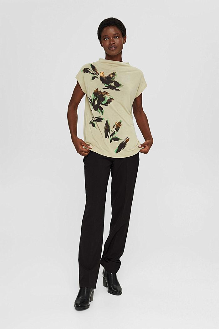 Gebloemd T-shirt van TENCEL™ x REFIBRA™, DUSTY GREEN, detail image number 1