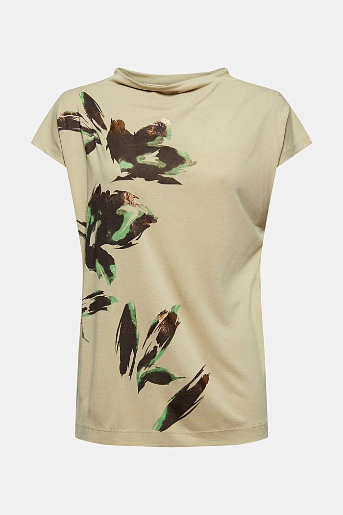Gebloemd T-shirt van TENCEL™ x REFIBRA™, DUSTY GREEN, detail image number 6