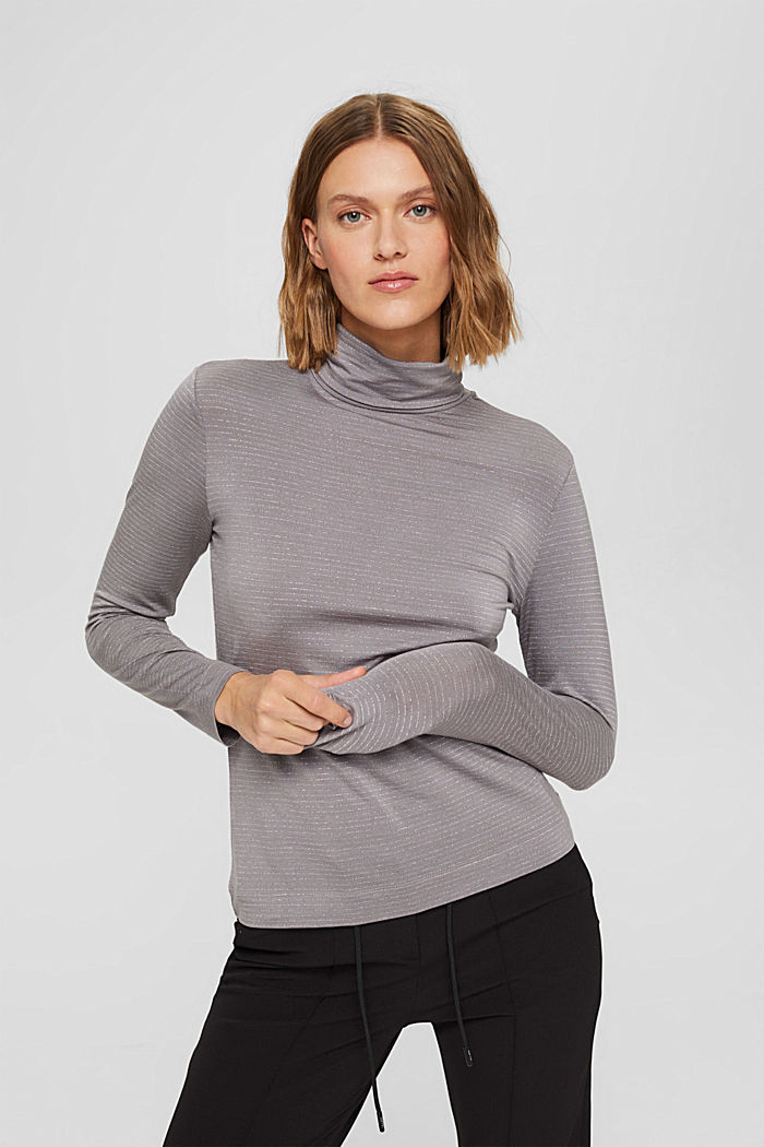 Long sleeve top with a polo neck collar and glittery stripes, GUNMETAL, detail image number 0