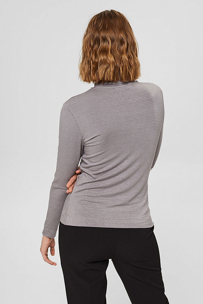 Long sleeve top with a polo neck collar and glittery stripes, GUNMETAL, detail image number 3