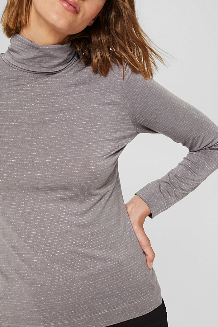Long sleeve top with a polo neck collar and glittery stripes, GUNMETAL, detail image number 2