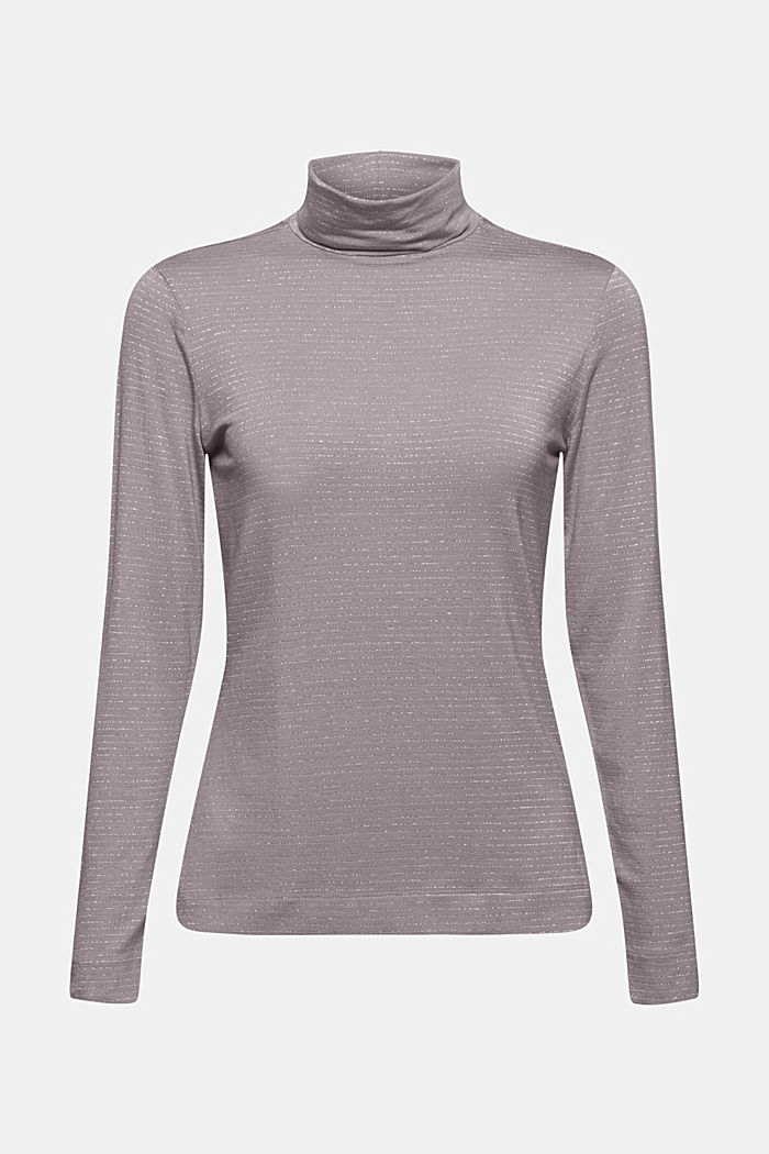 Long sleeve top with a polo neck collar and glittery stripes, GUNMETAL, detail image number 7