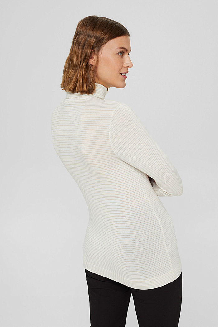 Long sleeve top with a polo neck collar and glittery stripes, OFF WHITE, detail image number 3